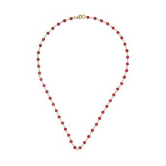 Gemshine choker necklace with red ruby gemstones in 925 silver plated