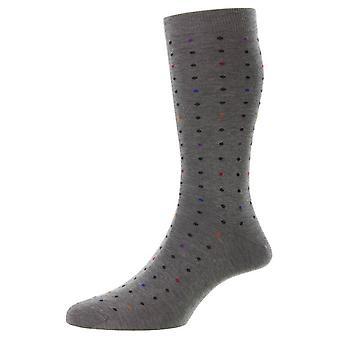 Pantherella Shelford New Spot Fil D'Ecosse Socks - Mid Grey Mix