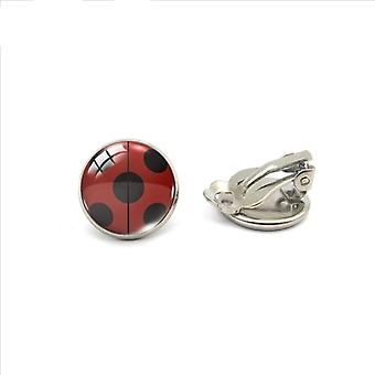 Glass Clip Earrings Cute Ladybug  Insect Cartoon Jewelry