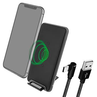 10W Qi Wireless Charger,Fast and Secure Charge, Desktop stand-4Smarts, Black