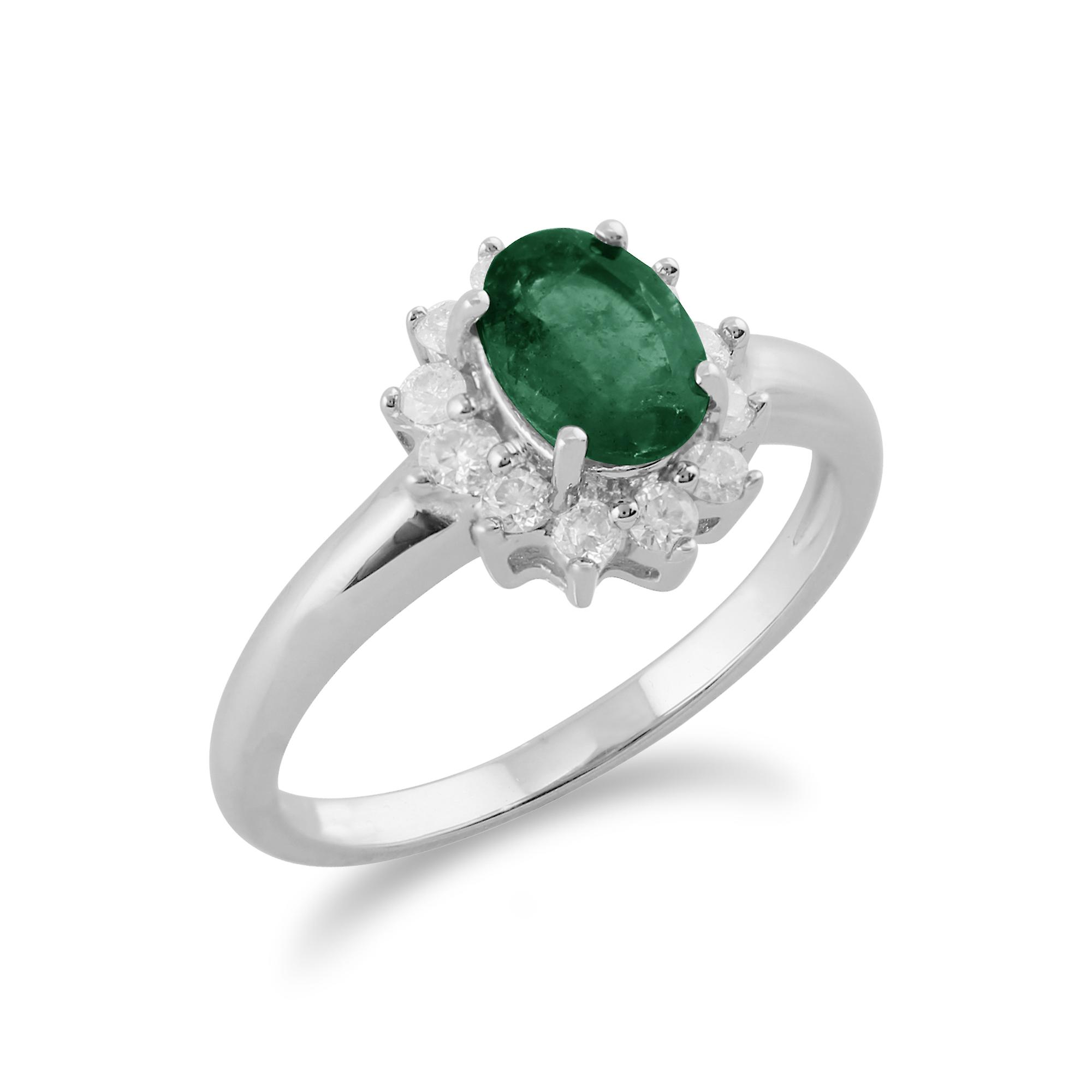 Gemondo 9ct White Gold 0.83ct Emerald & Diamond Oval Cluster Ring