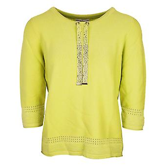 Passioni Lime Green 3/4 Sleeve Fine Knit Ribbed Texture Jumper