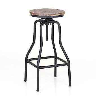 Industrial Style Bar Stool Height Adjustable Swivel Bar Natural Pinewood Chair