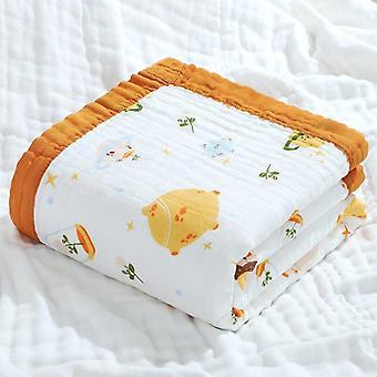 Jesień Pure Cotton Cartoon Drukowanie Szerokie krawędzie Kołdra, Baby Wrap, Ręcznik kąpielowy