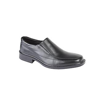 Roamers Murray Mens Leather Loafer Chaussures Noires