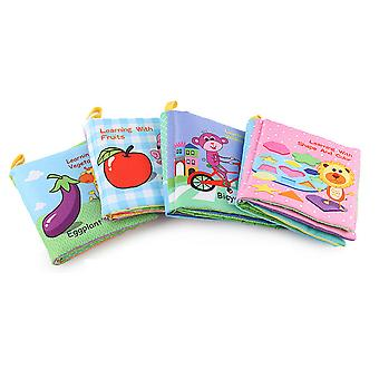 4pcs Vegetables Fruits Animals Vehicles Cloth Book Early Education Interactive Fabric Book