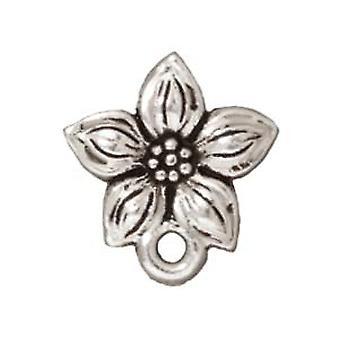 Ohrringpfosten, Stud Star Jasminblüte 13mm, 1 Paar, versilbertes Zinn, von TierraCast