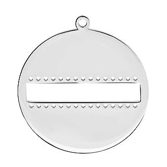Final Sale - Centerline Beadable Pendant, Round with Cutout and Holes 33mm, 1 Piece, Rhodium Plated