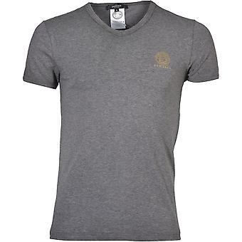 Versace icónica camiseta de cuello en V, Melange gris