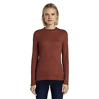 TOM TAILOR Denim Basic Rippen T-Shirt, 24579-Rust Orange Melange, XS Women
