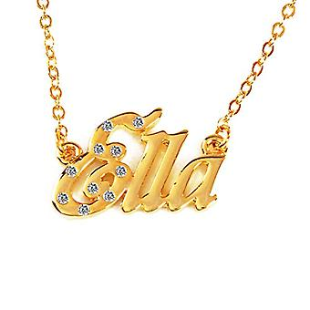 """L Ella - 18-carat Gold Plated Necklace, with Customizable Name, Adjustable Chain of 16""""- 19"""", in Regal Packaging"""