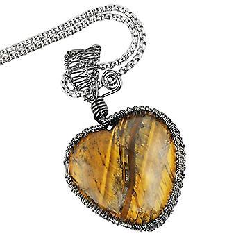 KYEYGWO - Collar de piedra de cristal natural de mujer, hilo de cobre envuelto amor, colgante con cadena de plata de 50,8 cm Ref. 0715444118685