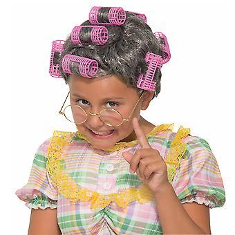 Teyze Gertie Eski Beyaz Çöp 80'ler Büyükanne Gri Saç Curler Kızlar Kostüm Peruk