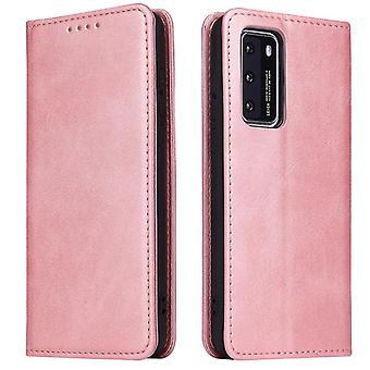 Flip folio leather case for huawei p40 pro plus rose gold pns-1149