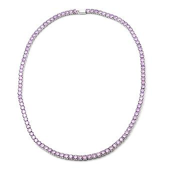 Simulated Amethyst Tennis Necklace 17 in Silver Tone