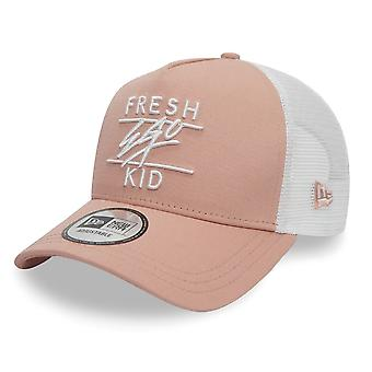 Fresh Ego Kid | Fek-595 New Era Mesh Trucker Cap - Peach/white