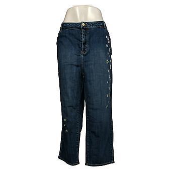 LOGO by Lori Goldstein Women's Embroidered Boyfriend Crop Jeans Blue A346157