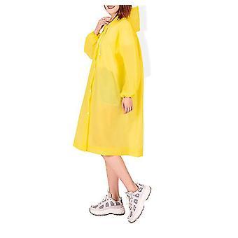 Regnrock Eva Rain Poncho för kvinnor och män, återanvändbar regnrock (gul)