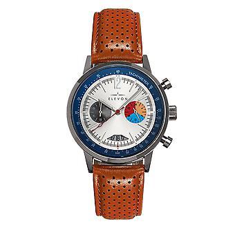 Elevon Torque Genuine Leather-Band Watch w/Date - Brown/White