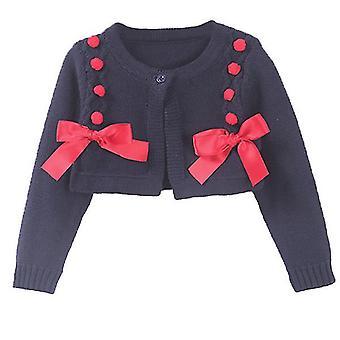 Kleinkind Mädchen Frühling Herbst kurze Oberbekleidung gestrickte Strickjacke für Geburtstag 130cm rot