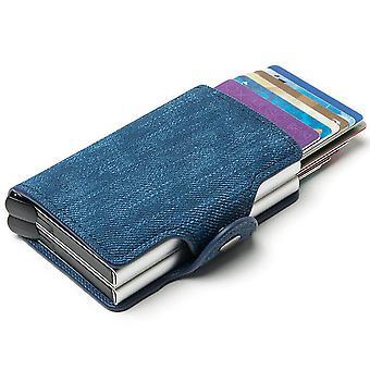 Aluminum alloy card case, automatic elastic card RFID metal card box(Gray)