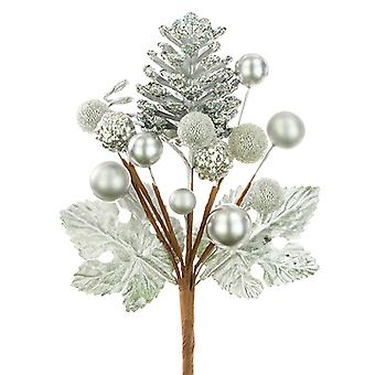 18cm Pinecone and Berry Mixed Pick - Silver