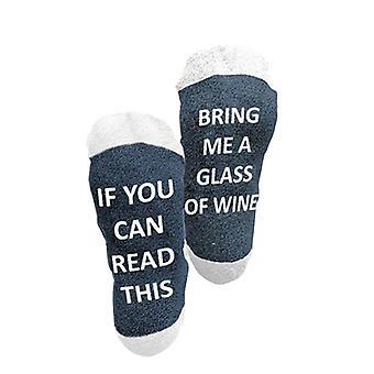 Flo strumpor Ge mig vin varma vinterstrumpor - Blå - Vit