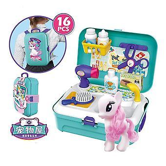 Preschooler girl simulation pet groomer tool backpack box pretend gift toddler kid stacking game toys, educational activities