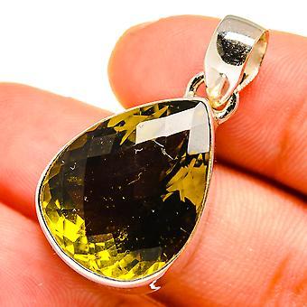 "Olive Quartz Pendant 1"" (925 Sterling Silver)  - Handmade Boho Vintage Jewelry PD10741"