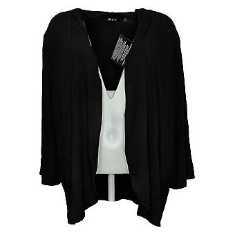 IMAN Global Chic Women's Sweater Plus 3/4-Sleeve Cardigan Black 752777