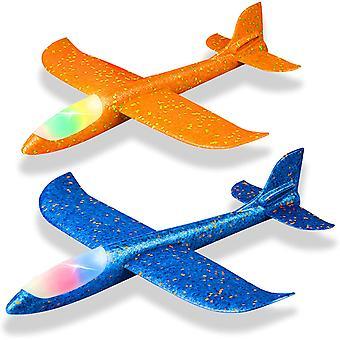 2 Pack LED-uri avion de lumină, aruncarea spuma de avion, care arborează jucărie pentru copii