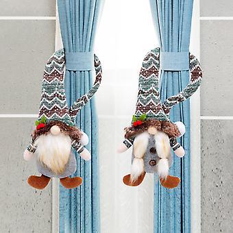 Weihnachtsvorhang Schnalle Krawatte Set Gesichtslose Puppe Weihnachtsvorhang Schnalle Dekoration Weihnachtspuppe 2pcs