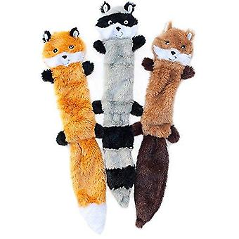 Skinny Peltz No Stuffing Squeaky Plush Dog Toy, Fox, Raccoon, And Squirrel - Large