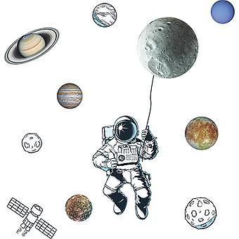 Space Star Astronaut Wall Stickers Decalcomanie per la stanza (dimensioni: 110cm X 114cm)