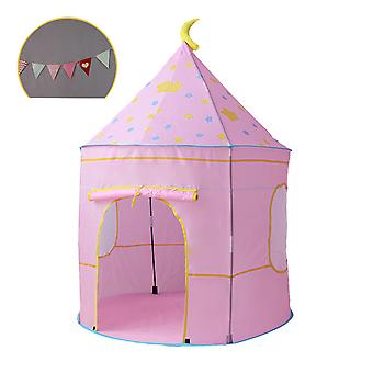 Silktaa Children's Castle Tent Foldable Play Tent With Colorful Flags