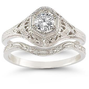 Antiek witte topaas bruids Ring Set in Sterling Zilver