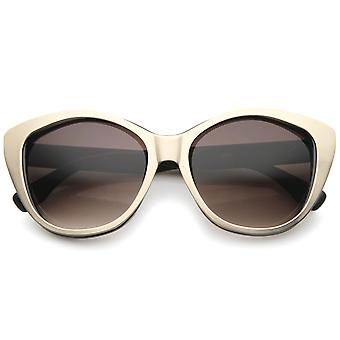 Women's High Fashion Two-Toned Tinted Lens Oversize Cat Eye Sunglasses 55mm