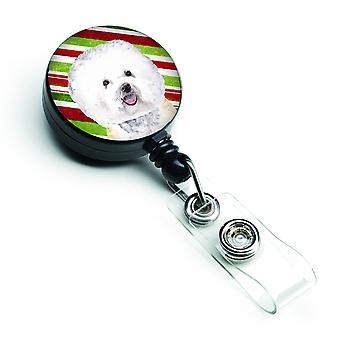 Bichon Frise Candy Cane Holiday Christmas Retractable Badge Reel