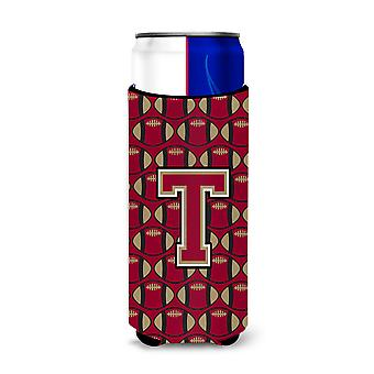 Letter T Football Garnet and Gold Ultra Beverage Insulators for slim cans