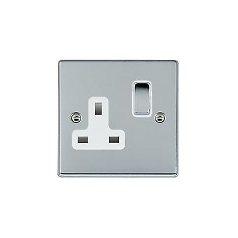 Hamilton Litestat Hartland Bright Chrome 1g 13A DP Switched Socket BC/WH