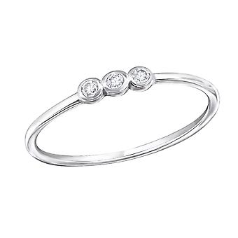 Round - 925 Sterling Silver Cubic Zirconia Rings - W31059x
