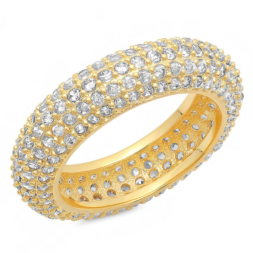 Ladies 18K Gold Plated Brass Simulated Diamond Rounded Band Ring