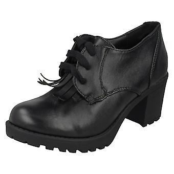 Girls Red Tag Blocked Heel School Shoes H3032