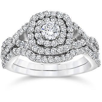 1 1/10ct Cushion Diamond Halo Engagement Ring Set 10K White Gold