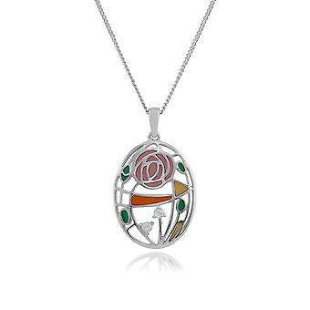 Sterling Silber 0,08 ct Topas Rennie Mackintosh Stil Jugendstil 45cm Halskette