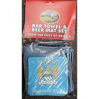 Manchester City Fc Cotton Bar Towel And 10 Beermats