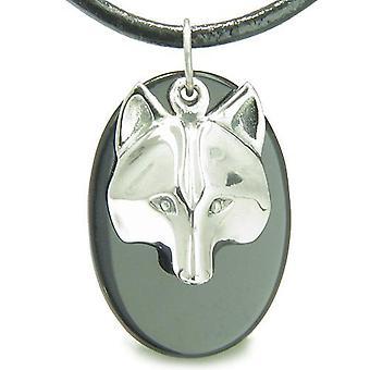 Amulet ProtectiWise Wolf maske åndelige krefter sort Onyx Gemstone Charm anheng halskjede