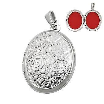 Sterling Silver Medallion pendant pendant Locket oval flower pattern Silver 925