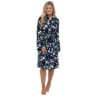 Ladies Tom Franks Warm Fleece Star Print Soft Wrap Over Nightwear Bathrobe Dressing Gown