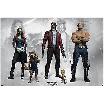 Guardians of the Galaxy Vol. 2 Poster Guardians Gamora, Rocky, Star Lord, Groot & Drax.